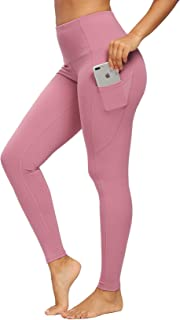 QUEENIEKE Women Yoga Leggings Out Pocket Mid-Waist Workout Running 4 Way Stretch Pants Size M Color Begonia Pink