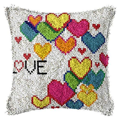 Kit De Gancho De Pestillo Diy Pareja Tema Almohada Decorativa,La Pestillo Gancho Cojín Kits,Cubierta De Almohada De Corazón Multicolor,Crochet Alfombra De Costura De La Alfombra,Regalo Creativo Para