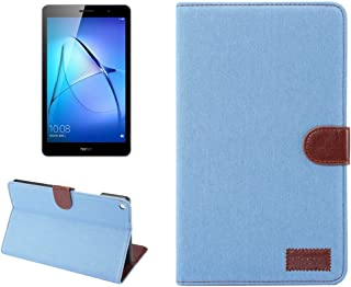 SHIHUI Phone Cases For Huawei MediaPad T3 8.0 Denim Texture Horizontal Flip Leather Case with Holder & Card Slots & Wallet & Photo Frame(Dark Blue)(Blue)(Baby Blue) (Color : Baby Blue)