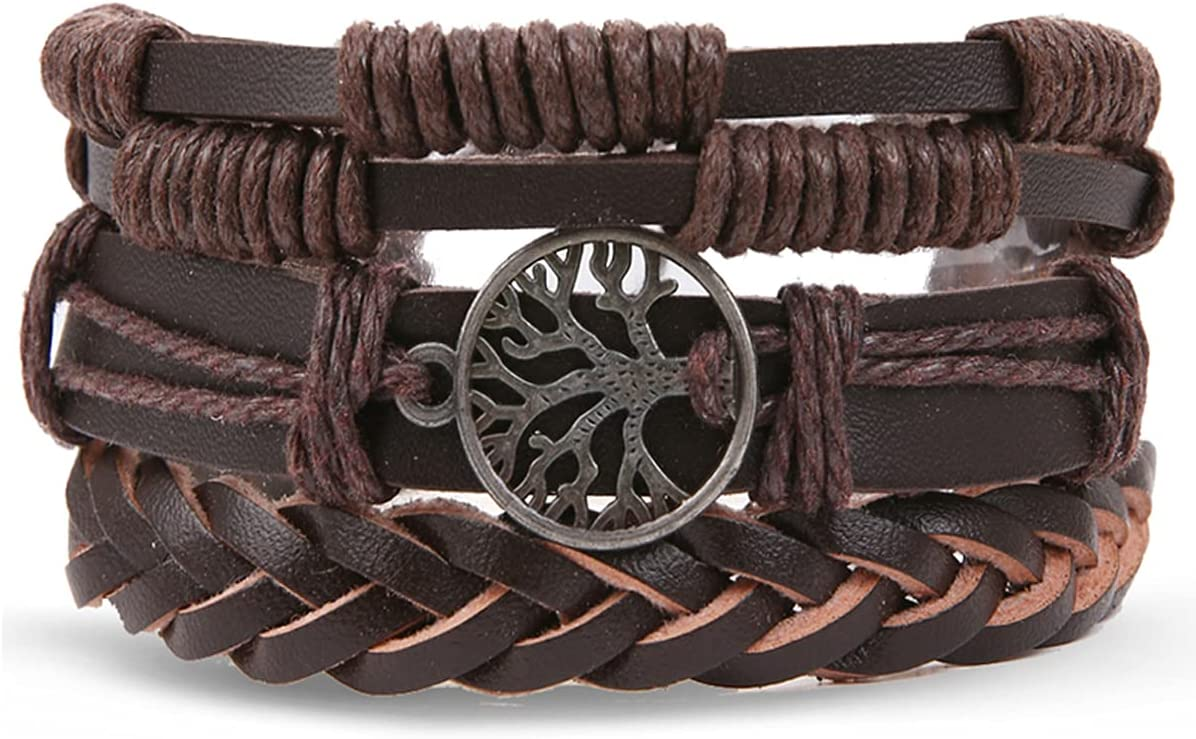 WMYDYBD 3 Pieces Multilayer Leather Free shipping anywhere in the nation Max 63% OFF Bracelet Braided of
