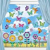 Adesivi per Finestra Primavera di Grandi Dimensioni Decalcomanie per Finestre a Fiore Farfalla Adesivi Anti-Collisione Decorazioni per Baby Shower Forniture per Festa