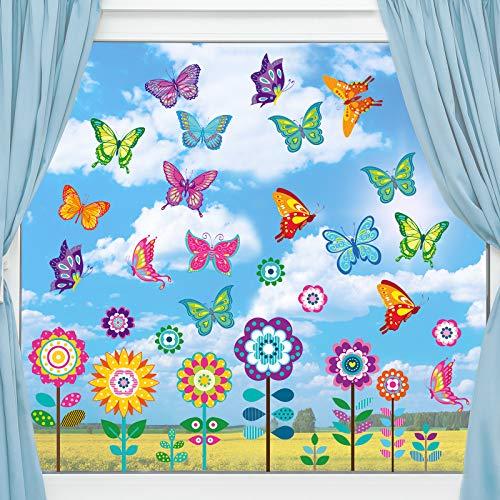 Adhesivos de Ventana de Primavera de Gran Tamaño Calcomanías de Ventana de Mariposas Flores Pegatinas de Anticolisión para Decoración de Baby Shower Fiesta
