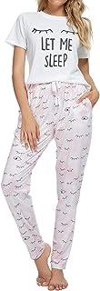 طقم منامات توب فيجور للنساء بأكمام قصيرة وسروال طويل دافئ ملابس نوم قطعتان للنساء رقبة على شكل حرف V مجموعات بيجامة