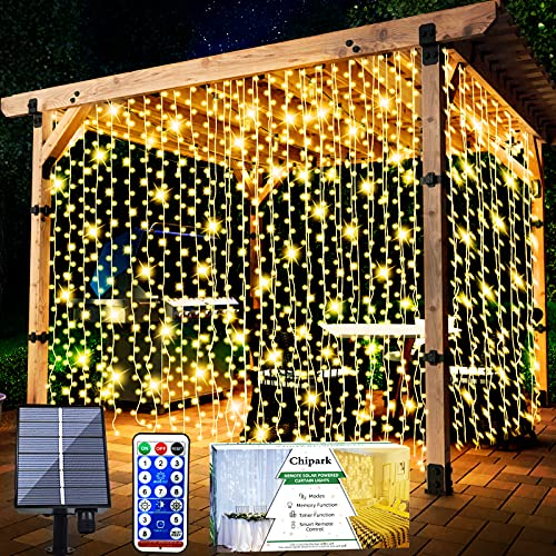 Chipark Solar Curtain Lights, Upgraded Garden Fairy Lights 300 LED 8 Modes Remote Control Waterproof Solar Fairy Lights Outdoor Curtain String Lights for Gazebo Patio Party Festival Decorations(Warm)