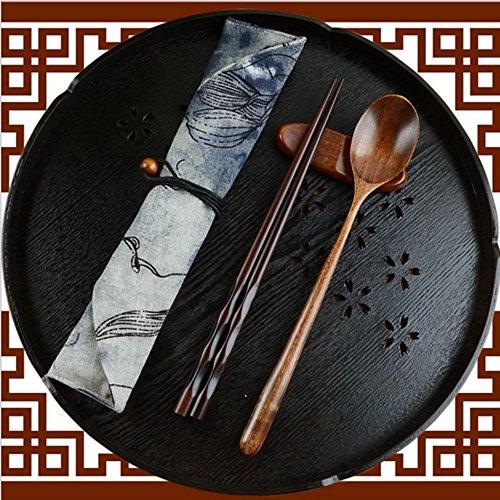 Shirt Luv Japanese Vintage Wooden Chopsticks Spoon Tableware 2pcs Set New Gift Kitchen Dining Bar Accessories