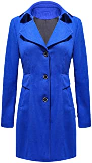 Howely Womens Loose Fit Lapel Single Button Over Size Solid Closure Coat Jacket