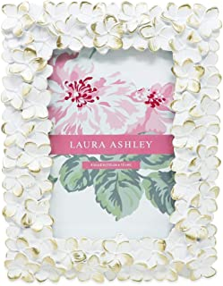 Laura Ashley 4x6 White & Gold Flower Textured Hand-Crafted Resin Picture Frame w/Easel & Hook for Tabletop & Wall Display, Decorative Floral Design Home Décor, Photo Gallery, Art (4x6, White/Gold)