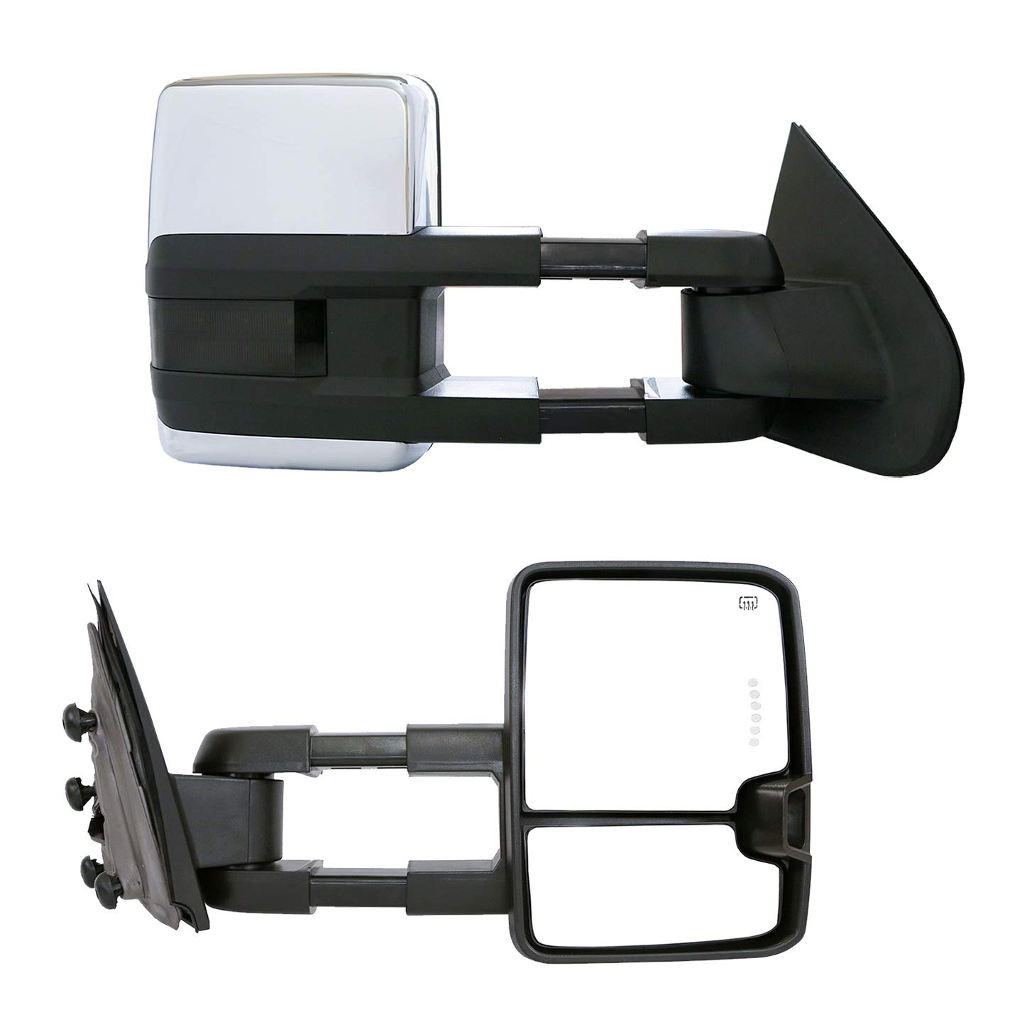 Paragon Telescopic Towing Mirrors for 2014-18 Chevy Silverado//GMC Sierra 1500 /& 2015-18 Silverado//Sierra 2500//3500 Heated Powered Black Pair Set
