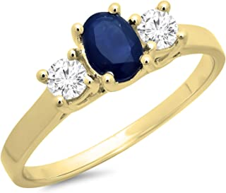 18K Gold 7X5 MM Oval Blue Sapphire & Round White Diamond Bridal 3 Stone Engagement Ring