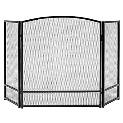 Best Choice Products 47x29in 3-Panel Simple Steel Mesh Fireplace Screen, Fire Spark Guard Grate for Living Room Home Decor w/Rustic Worn Finish - Black from Best Choice Products