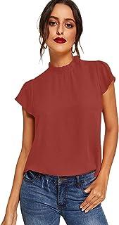 ROMWE Women's s Short Sleeve Pearl Beaded Loose T Shirt Basic Tee Tops