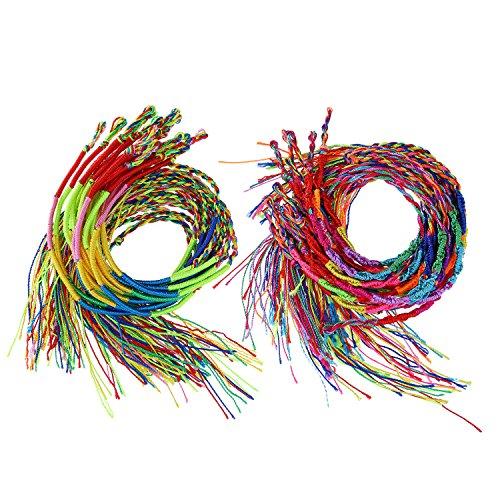 40 Piezas 2 Estilos Pulseras Trenzadas a Mano Coloridas Pulseras de Amistad Pulsera de Muñeca y Tobillo