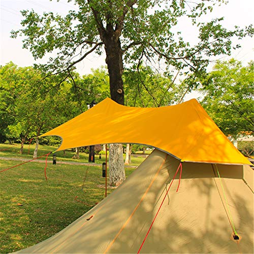 Goodvk Sun Sail Shade Silicone Coated Ultralight Tarpaulin Outdoor Camping Survival Awning Awning Silver Coating Waterproof Tent Easy to Use (Color : Yellow, Size : 3X4m)
