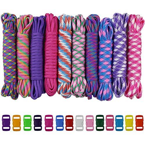 aufodara 24er Set - Paracord Armband Schnüre 7 Strängen Nylon Seil und Farbe Kunststoff Klickverschluss für Damen Mädchen DIY Handgemachte Webart (24er)