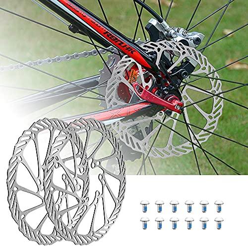 PERFETSELL 2 Pz Freno a Disco per Bicicletta 160mm MTB Rotori del Freno a Disco della Bici 6 Fori Freno a Disco in Acciaio con 12 Viti per la maggior parte Bici da strada Mountain bike BMX MTB