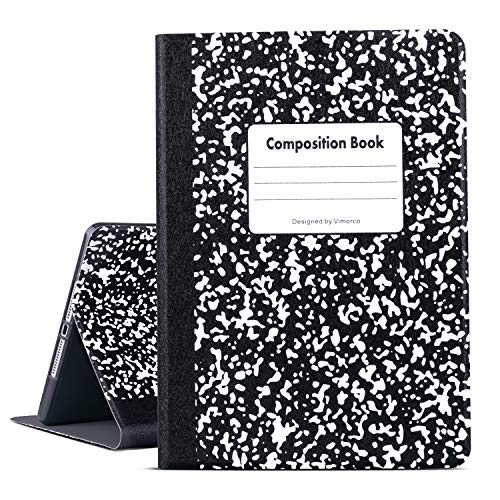 Ipad Air 1/2 Case, Ipad 9.7 Inch 2017/2018 Case, Vimorco Pu Leather Cover with Multi-Angle View Stand, Ipad 5th/ 6th Generation Smart Cover with Auto Wake/Sleep Function, Composition Book