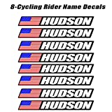 8 piece Custom Bicycle Frame Name USA Decal Sticker Set - road bike cycling mountain bike - Black Background