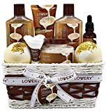 Bath and Body Gift Basket For Women and Men – 9 Piece Set of Vanilla Coconut Home Spa Set, Includes Fragrant Lotions, Extra Large Bath Bombs, Coconut Oil, Luxurious Bath Towel & More