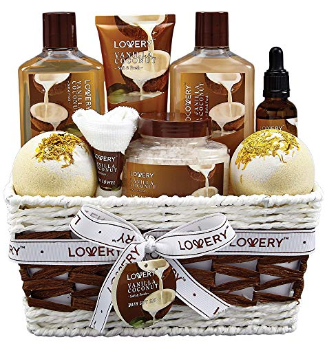 Bath and Body Gift Basket For Women and Men – 9 Piece Set of Vanilla Coconut Home Spa Set