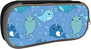 MOPE Cute Narwhal Pencil Case Double Zipper Large Storage Space Mulit-Function Stationary Portable Makeup Bag Big Capacity Pencil Case