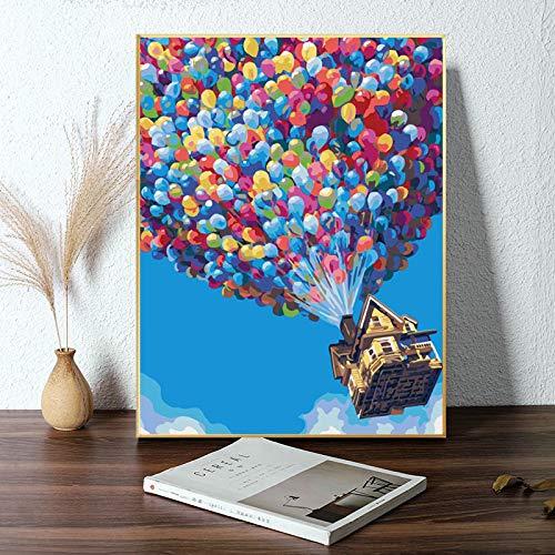 Alimtois Pintura por Números para Adultos Bricolaje Lienzo Preimpreso Pintura al óleo Arte Decoración del Hogar Reducir la Ansiedad 40x50cm (Balloon Tree)