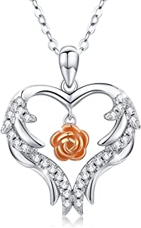 Heart Necklace Angel Wings Rose Flower Pendant S925 Sterling Silver Love Heart Rose Flower Romantic Jewelry Gifts with Gif...