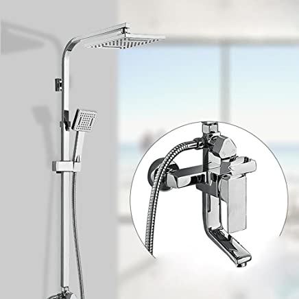 KHSKX Modern home shower set square multi-function hot and cold pressure copper and triple wall mounted water shower multi-function hand shower high quality taps