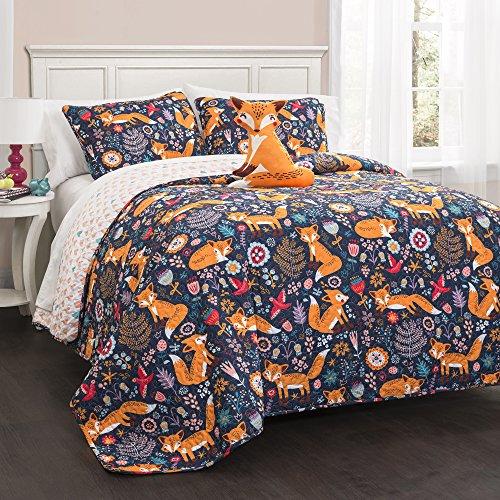 Lush Decor Exuberante decoración 16t000549Pixie Fox 4Set de Funda nórdica, Azul Marino, Full/Queen