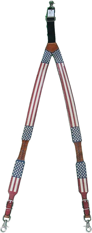 Custom United States Coast Guard American Flag Leather Suspenders Galluses or Braces