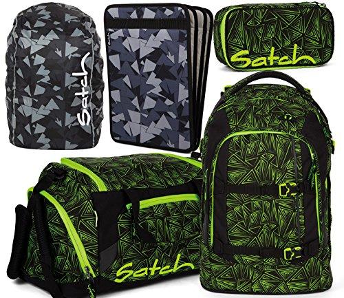 Satch Pack Green Bermuda 5er Set Schulrucksack, Sporttasche, Schlamperbox, Heftebox & Regencape Schwarz