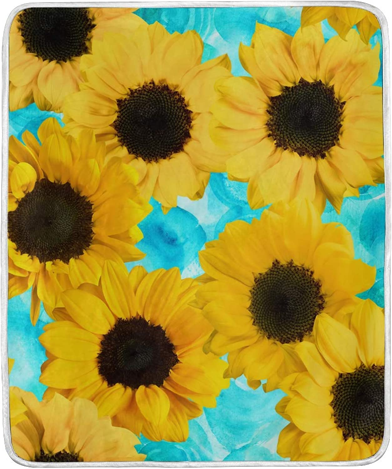 Senya Luxury Blanket Home Decor Retro Sunflowers Throw Blanket Lightweight Microfiber Super Soft Warm Cozy Plush Bed Blanket 60 x 50 Inches