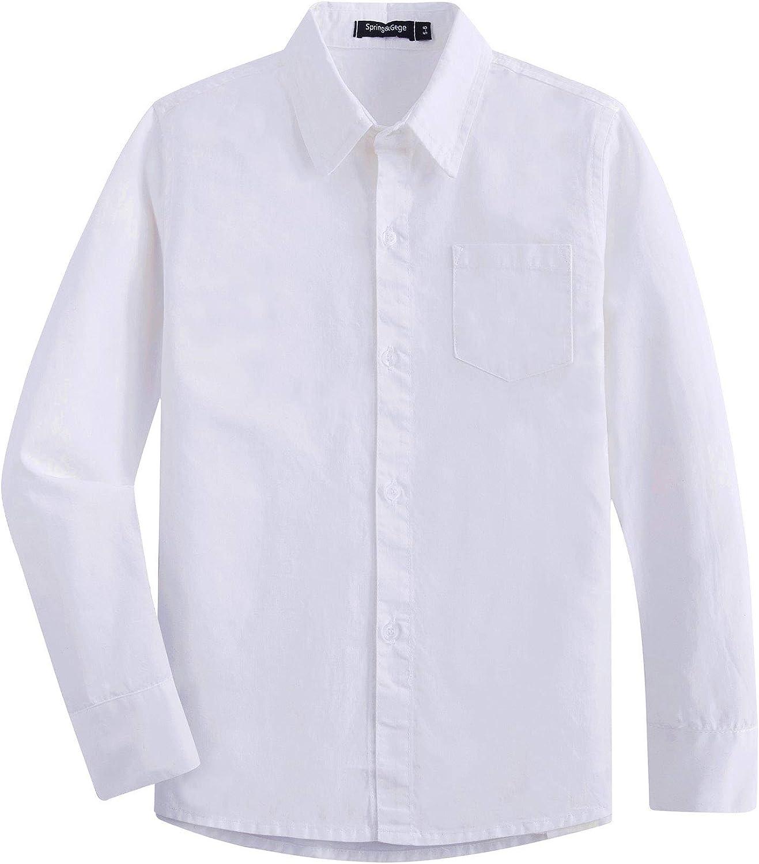 Spring&Gege Camisas de vestir de sarga de algodón de manga larga para niños