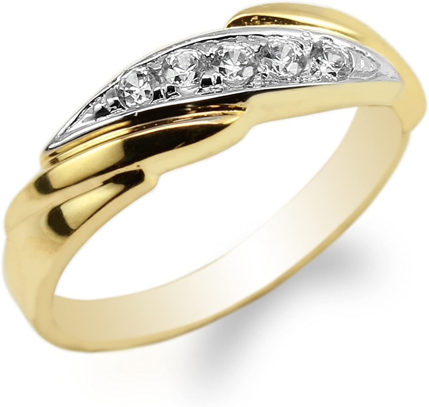JamesJenny 10K Yellow Gold Two Tone Colored Luxury Wedding Band Ladies Ring Size 4-10