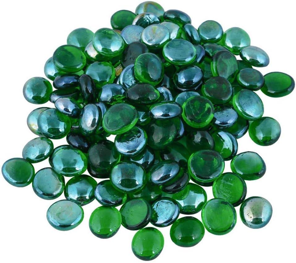 ARSUK Glaskiesel dekorative Steine Perlen Nuggets Edelsteine Mosaikfliesen f/ür Vasen Craft Garden Bowls Aquarium 100 gr/üne Kieselsteine