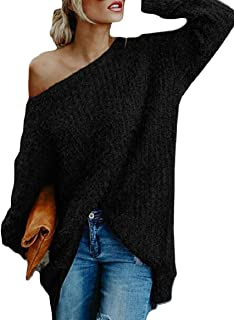 Womens One Shoulder Batwing Sleeve Pullover Sweater Jumpers Black US XLarge