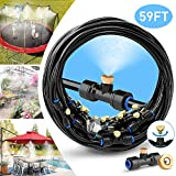 HOMENOTE Misting Cooling System 59FT (18M) Misting Line + 20 Brass Mist Nozzles + a Brass Adapter(3/4') Outdoor Mister for Patio Garden Greenhouse Trampoline for waterpark
