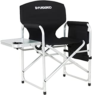 FUNDANGO Folding Camping Chair Full Back Lightweight Portable Directors Chair with Armrest Side Table and Cup Holder Carrying Handle for Outdoor Lawn Sports Picnic