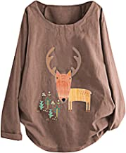 Cathalem Women T Shirt Plus Size Tops Blouse Cotton and Linen Tunic Long Sleeve Tees Pullover Shirt