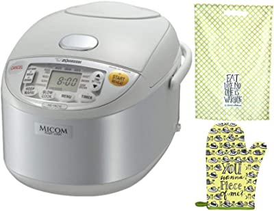 Zojirushi Umami Micom Rice Cooker and Warmer (5.5-Cup) with Oven Mitt and Dishtowel (3 Items)