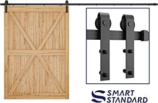 SMARTSTANDARD 12ft Heavy Duty Sturdy Sliding Barn Door Hardware Kit - Smoothly and Quietly - Easy to Install - Includes Step-by-Step Installation Instruction Fit 72