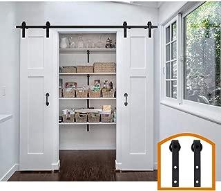 ZEKOO 11 FT Black Steel Antique Interior Double Sliding Barn Door Hardware Pulls Wood Door Kit