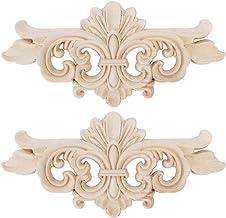 2 stuks bloem gesneden lange onlay applique carving decal meubeldeur woondecoratie (16 * 7.5cm)