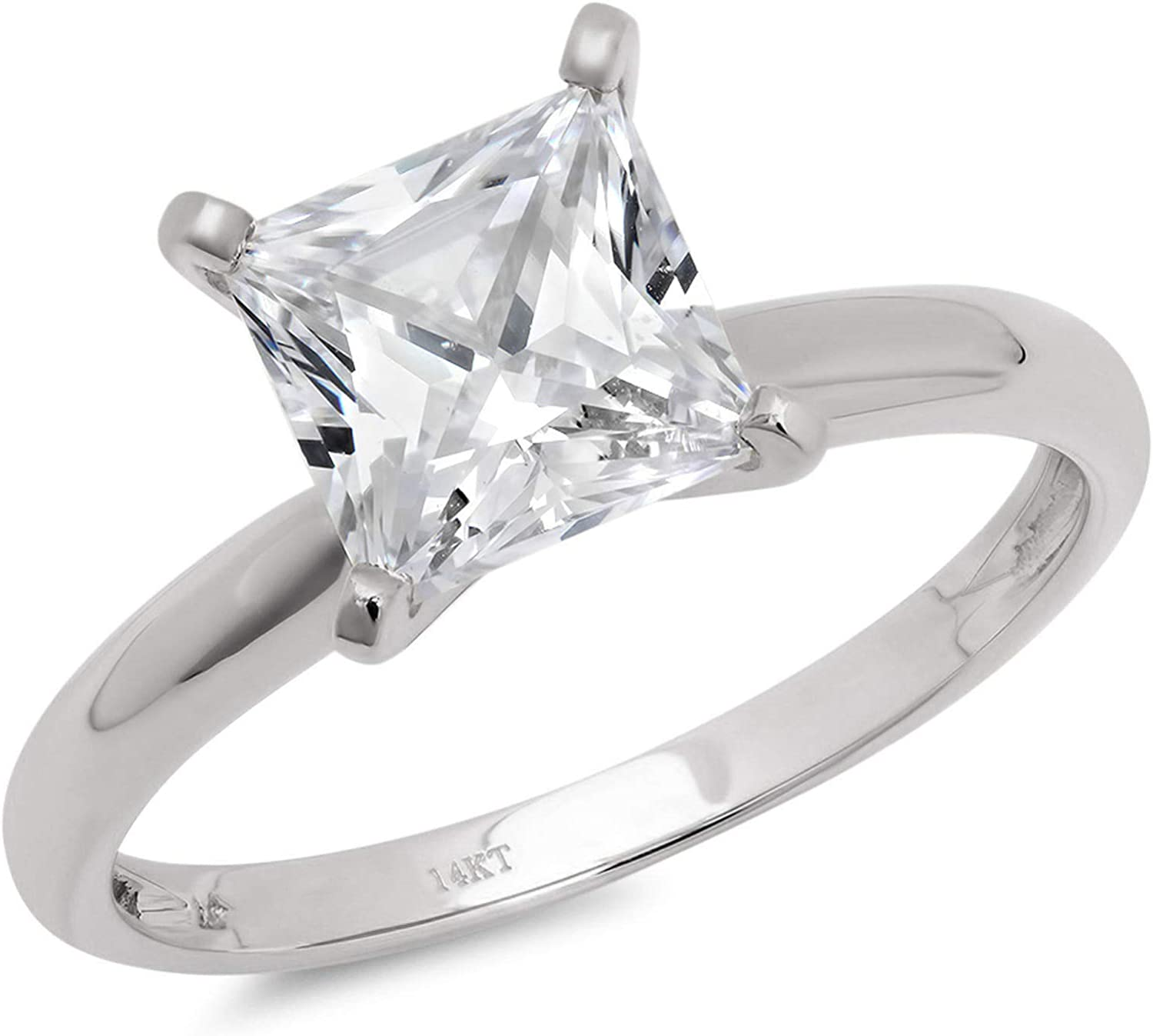 1.9ct Brilliant Princess Cut Solitaire Stunning Genuine Lab Created White Sapphire Ideal VVS1 D 4-Prong Engagement Wedding Bridal Promise Anniversary Ring Solid 14k White Gold for Women