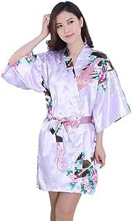 GGTFA Mujeres Kimono Traje De Pavo Real Patrón De Albornoz Vestido De Ropa De Dormir Ropa De Dormir