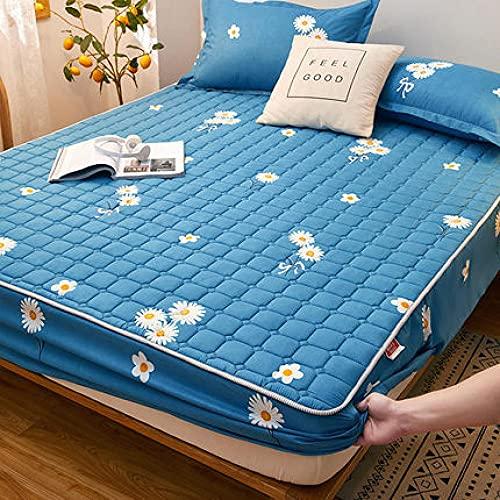 YFGY Sábana Bajera Doble Azul, Protector de colchón Estampado de algodón, sábanas Ajustadas para el apartamento del Dormitorio de los niños 150 * 200 cm