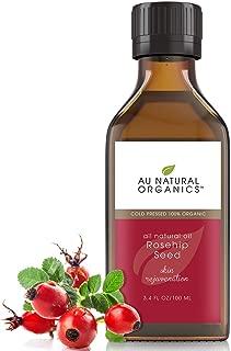 Au Natural Organics Rosehip Oil - Natural Source of Vitamin A - Face & Body Skin Moisturizer - Cleansing & Anti-Aging Power - 3.4oz / 100ml