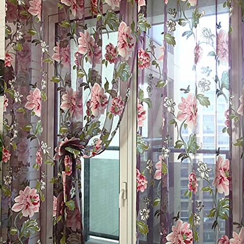MileMelo Sheer Curtain Country Style Floral Rod Pocket Voil Drapes Window Curtain Pannel 37 x 80 Inch