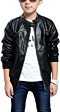 Chinaface Boy's Trendy Stand-Collar PU Leather Spring Moto Jacket Black