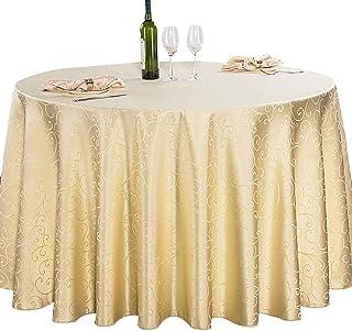 BANNAB Nappe de Couleur Unie Ronde, imperméable Jacquard Polyester Nappe de Table à Manger Couverture de Table à Manger po...