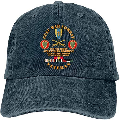 MiniMini Gulf War Combat Cavalry Vet W 2nd Squadron 4th CAV 24th ID XVIII ABN Corps Denim Hats Baseball Cap Dad Hat